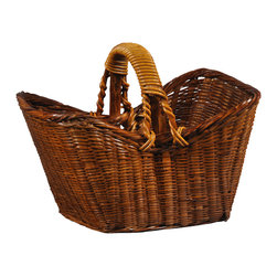 Antique Revival - Natural Cottage Basket - Completely handweaved and hand finished, these wonderful vintage baskets are a wonderful addition to any home. Great for both outdoors and indoors usage, these pieces stand out wherever they're placed, and is beautiful as well as practical.