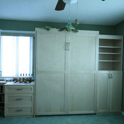 Full MurphyBED in Natural Maple and Flat Panel Door Style -