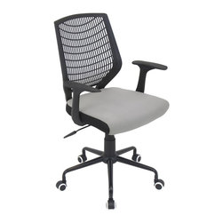 LUMISOURCE - Lumisource Network Office Chair, Black/Silver - For a basic, yet sleek design, try the Network Office Chair. It adds a touch of modern flair to your home office, conference room, or board room. The padded seat and lumbar support creates comfort for the long days at work. The Network Office Chair offers a comfortable PE backrest, adjustable height, adaptable tilt & tension, and swivels 360 degrees. It sits atop a sturdy 5-point metal base and casters for mobility. BIFMA certified.