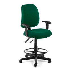 OFM - OFM Posture Task Chair with Arms and Drafting Kit in Green - OFM - Office Chairs - 1182AADK807 - You'll always have great posture with OFM's 118-2 Posture Series Task Stool with Arms. This task stool features built-in lumbar support 7-position adjustable arms plus adjustable back depth and height pitch and gas-lift seat height adjustment. High-quality fabric is rated to exceed 150000 double rubs and the seat back is fully upholstered. The wheeled 5-star base adds stability and includes adjustable foot ring. Weight capacity up to 250 lbs.