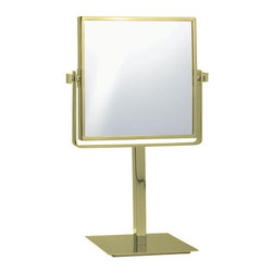 Nameek's - Double Sided Square 3x Makeup Mirror, Gold - This 8 inch table mirror has two faces and a 3x magnification.