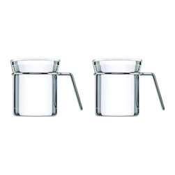 Mono - Ellipse Collection Set of 2 Tea Mugs - If you're asking yourself where you can find the trendiest tea mugs around, here are two excellent answers. This pair of uber-modern tea mugs in flawless glass and stainless steel is precisely what you, the sophisticated tea lover, have been looking for.