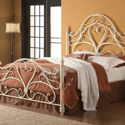 "Coaster - Traditional Queen Size Headboard & Footboard - White - This ornate style metal bed features heart shaped center design and intricate curves. Finished in egg shell white, this bed will introduce a simple elegance appearance to any bedroom decor.; Traditional Style; White finish; No assembly required.; Dimensions: 88""L x 62""W x 63""-36""H"