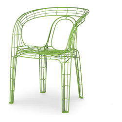 Palecek - Mazatlan Outdoor Chair, Green - Stacking chair frames available in multiple colors. Hand-welded powder coated frames are suitable for outdoor use.