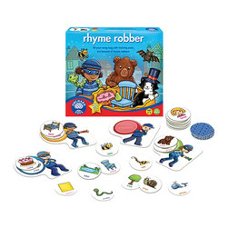 The Original Toy Company - The Original Toy Company Kids' Rhyme Robber - Fill your swag bag with rhyming pairs, but beware of rhyme robbers. A fun, rhyming game. Collect the sets of rhyming words to put in your swag bag, but beware of robbers pinching your cards.