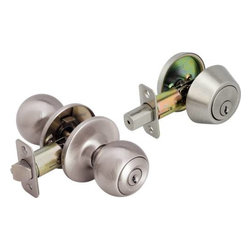 "LEGEND - Ball Style Front Door Knob Entry Lockset and Single Cylinder Deadbolt - This combination ball knob entry lock and deadbolt set are keyed alike to make things easy for the homeowner. The set complements both traditional and contemporary residential exterior doors. The backsets are adjustable between 2-3/8"" and 2-3/4"". This set is made to fit doors between 1-3/8"" and 1-3/4"". Both locks feature a dead latch style backset and a square corner striker while the deadbolt features a hardened steel anti-saw pin, a case hardened steel drive rod and hardened steel screws to enhance your security. The interior side of the deadbolt has a turn piece to operate the bolt while the exterior side requires a key. The US15 Satin nickel Finish is protected by a clear powder coat Finish. Utilizing a KW1 keyway ensures that you'll always be able to get a key made. Legend locksets feature a limited lifetime warranty."