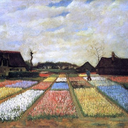 "Vincent Van Gogh A Bulb Field (Flower Beds in Holland)  Print - 18"" x 24"" Vincent Van Gogh A Bulb Field (also known as Flower Beds in Holland) premium archival print reproduced to meet museum quality standards. Our museum quality archival prints are produced using high-precision print technology for a more accurate reproduction printed on high quality, heavyweight matte presentation paper with fade-resistant, archival inks. Our progressive business model allows us to offer works of art to you at the best wholesale pricing, significantly less than art gallery prices, affordable to all. This line of artwork is produced with extra white border space (if you choose to have it framed, for your framer to work with to frame properly or utilize a larger mat and/or frame).  We present a comprehensive collection of exceptional art reproductions byVincent Van Gogh."