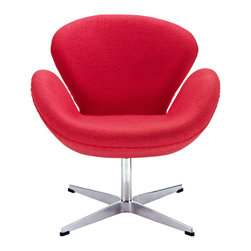 """LexMod - Wing Lounge Chair in Red - Wing Lounge Chair in Red - Perhaps no chair is more synonymous with organic design than the Wing chair. First intended as an outstretched reception chair, the piece is expansive like the wings of its namesake. While organic living promotes the harmonious balance between human habitation and the natural world, achieving proper balance is a challenge. It is often left to the designers, those creative leaders of the generation, to guide the way. While the padded fiberglass shell is upholstered in a layer of fabric, the admiration for this piece comes from a much deeper source. First developed in the mid-20th century, the Wing chair is a testament to the potential inherent in human endeavor. While the chair rests firmly on a sturdy polished aluminum frame, its the abandonment from the particulars of engineering and industry that make it so endearing. Set Includes: One - Wing Chair Upholstered in Wool, Aluminum Rotating Base, High Density Foam Cushions, Re-enforced Fiberglass Frame Overall Product Dimensions: 26""""L x 28""""W x 29""""H Seat Dimensions: 18.5""""L x 15""""W x 16.5""""HBACKrest Dimensions: 18""""H Armrest Height: 23""""H - Mid Century Modern Furniture."""