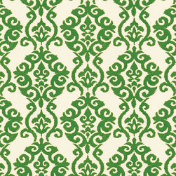 """Ballard Designs - Damask Green EasyCare Fabric by the Yard - Content: 100% Polyester. Repeat: Non-railroaded fabric, 9"""" Repeat. Care: Clean with mild soap and water. Width: 54"""" wide. Green and white damask printed on washable polyester.. . . . Because fabrics are available in whole-yard increments only, please round your yardage up to the next whole number if your project calls for fractions of a yard. To order fabric for Ballard Customer's-Own-Material (COM) items, please refer to the order instructions provided for each product.Ballard offers free fabric swatches: $5.95 Shipping and Processing, ten swatch maximum. Sorry, cut fabric is non-returnable."""