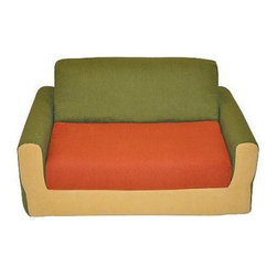 Fun Furnishings Hummer Kids Sofa Sleeper - Why not add a cute and comfy sofa to your child's room? The Fun Furnishings Hummer Kids Sofa Sleeper is a perfect place for him or her to curl up and read or even open it up into sleeper position and take a little rest. Its green orange and gold colors are perfect for a girl or boy and are sure to add a playful touch whether it is placed in a bedroom or playroom. Built to hold up to 100 lbs. this sofa is made in the USA with polyester and fire-retardant foam. About Fun FurnishingsThis company was created in 1993 in response to a need for more furniture choices for kids who had outgrown cribs. Top quality foam sofa and chair sleepers were Fun Furnishings' debut pieces. They were an instant hit on the market. Since then the company has expanded their innovative designs and continues to create delightful quality furniture for all kids.