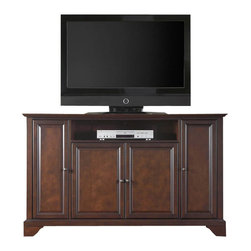 """Crosley Furniture - Crosley Furniture LaFayette 60"""" TV Stand in Vintage Mahogany Finish - Crosley Furniture - TV Stands - KF10001BMA - Constructed of solid hardwood and wood veneers this cabinet is designed for longevity. The rich hand rubbed multi-step vintage mahogany finish is perfect for blending with the family of furniture that is already part of your home. Antique brass finish hardware adds a touch of style to this already beautiful cabinet. There is plenty of storage space and wire management behind the beautiful raised panel doors to hide electronic components gaming consoles DVDs and other items that you would prefer to be out of sight. The 59 3/4"""" width means that this cabinet is perfect for most 60"""" TV's. This cabinet is not just for the TV room. The 36"""" height makes for great TV viewing in the bedroom. Behind the four doors you will find adjustable shelves and lots of storage space for things other than electronics. Style function and quality make this cabinet a wise choice for your home furnishings needs and is sure to be a part of your home for years to come."""