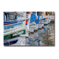 """French Bows - Canvas , 24x16x3 - What is it about the bows of boats? Perhaps its because they always  seems so certain of their direction. """"We are going this way."""" These boats were in a small French port near Marseille. Pick a color, design a room. It all works. Plus remember—boat bows are very confident they headed the right way."""