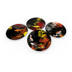 """Custom Photo Factory - Maxwell Dickson """"Koi"""" Crystal Clear Glass Coaster Sets - Made in the USA. Materials: Smooth tempered glass. Set includes: Four (4) or Six (6) drink coasters. Dimensions: 3.94"""" x 3.94"""" x 3/16"""".  Image imprinted on the backside so the item on top of the coaster is never interacting with the print surface. The crystal clarity of our glass coasters delivers reliably uniform color reproductions. Crafters, artists and interior designers will find countless ways to use the features of these glass coasters. This will be the highest quality coasters you've even seen."""