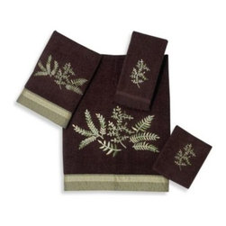 Avanti - Avanti Greenwood Hand Towel in Java - Foliage embroidery in shades of green are a lovely embellishment to these bathroom towels. Finished off perfectly with a textured fabric band.