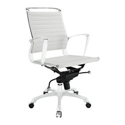 """Tempo Mid Back Office Chair - Skip to a beat that your life's ambitions deserve. Tempo is a supercharged modern office chair that comes outfitted with all the amenities of its more stolid counterparts. The polished chrome-plated aluminum armrests portray a spirit on the rise, even as your arms find themselves properly positioned for the tasks at hand. The ribbed vinyl back and seat pattern help evenly disperse your body's weight, while instilling a look that imbues momentum and a love for life. Tempo comes equipped with a tension control knob and tilt lock to further personalize the chair, while the pneumatic chair lever easily adjusts the chair's height. The 360 degree swivel will also keep your inner """"kid"""" entertained at all times as well. Additionally, the hooded aluminum base comes equipped with five dual-wheeled casters for easy gliding over carpeted surfaces. Whether you are looking to buy one for yourself, or one-hundred for your office, Tempo is a chair that enhances productivity in the most natural ways possible."""