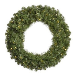 Vickerman 84 in. Pre-Lit Grand Teton Wreath - Embellish your home this holiday with the shimmering Vickerman 84 in. Pre-Lit Grand Teton Wreath. This dazzling wreath features a classic Christmas design, constructed from a durable polyvinyl chloride material to ensure years of adorning your home. The ample 1,240 tips provide abundant space for personal decorations and ornaments to help make this wreath part of your holiday traditions and the 800 pre-lit lights are sure to brighten any room in your home.About VickermanThis product is proudly made by Vickerman, a leader in high quality holiday decor. Founded in 1940, the Vickerman Company has established itself as an innovative company dedicated to exceeding the expectations of their customers. With a wide variety of remarkably realistic looking foliage, greenery and beautiful trees, Vickerman is a name you can trust for helping you create beloved holiday memories year after year.