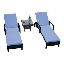"Reef Rattan - Reef Rattan 3 Pc Islander Chaise Lounger Set Black Rattan / Blue Cushions - Reef Rattan 3 Pc Islander Chaise Lounger Set Black Rattan / Blue Cushions. This patio set is made from all-weather resin wicker and produced to fulfill your needs for high quality. The resin wicker in this patio set won't fade, shrink, lose its strength, or snap. UV resistant and water resistant, this patio set is durable and easy to maintain. A rust-free powder-coated aluminum frame provides strength to withstand years of use. Sunbrella fabrics on patio furniture lends you the sophistication of a five star hotel, right in your outdoor living space, featuring industry leading Sunbrella fabrics. Designed to reflect that ultra-chic look, and with superior resistance to the elements in a variety of climates, the series stands for comfort, class, and constancy. Recreating the poolside high end feel of an upmarket hotel for outdoor living in a residence or commercial space is easy with this patio furniture. After all, you want a set of patio furniture that's going to look great, and do so for the long-term. The canvas-like fabrics which are designed by Sunbrella utilize the latest synthetic fiber technology are engineered to resist stains and UV fading. This is patio furniture that is made to endure, along with the classic look they represent. When you're creating a comfortable and stylish outdoor room, you're looking for the best quality at a price that makes sense. Resin wicker looks like natural wicker but is made of synthetic polyethylene fiber. Resin wicker is durable & easy to maintain and resistant against the elements. UV Resistant Wicker. Welded aluminum frame is nearly in-destructible and rust free. Stain resistant sunbrella cushions are double-stitched for strength and are fully machine washable. Removable covers made with commercial grade zippers. Tables include tempered glass top. 5 year warranty on this product. PLEASE NOTE: Throw pillows are NOT included. Chaise Lounger (2): W 29"" D 78"" H 10"", Coffee Table: W 20"" D 18"" H 10"""