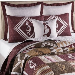 Keeco, Llc - Kokopelli Quilt - Give your bedroom a distinctive Southwestern feel with the Kokopelli quilt. It features a patchwork of Kokopelli images and Native American-inspired geometric designs in a soothing palette of earth-tones that will bring serenity to your bedroom.