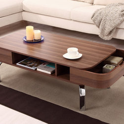Furniture of America - Furniture of America Berkley Modern Coffee Table - This Berkley coffee table features a modern design with rounded edges and removable pocket drawers. This wooden coffee table has an open center storage for maintaining the organization of your living area.