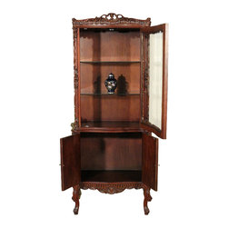 Solid Mahogany Curio Display Showcase Vitrine Cabinet - Mahogany finish