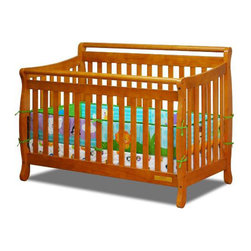 AFG Baby - AFG Baby Amy Convertible Crib with Toddler Rail in Pecan - Featuring a round bar design across a sleigh style crib, the Amy 3 in 1 Convertible Crib combines timeless style and long-term durability into a popular crib with many standard features such as 4-level mattress support which can be adjusted throughout your baby's growth, solid wood construction, and toddler bed and full-size conversions. Wider, thicker slats on all sides of the crib lend durability to the entire crib structure. Guardrail included and full-size conversion rails sold separately. All Athena products meet and exceed the latest US safety standards. The Amy crib is a simple and charming crib perfect for your modern nursery.