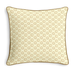 Metallic Gold Dot Corded Pillow - Black and white photos, Louis XIV chairs, crown molding: classic is always classy. So it is with this long-time decorator's favorite: the Corded Throw Pillow.  We love it in this dainty gold metallic pinwheel handprinted on cream cotton. trust us: this small print makes big impact!