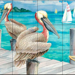The Tile Mural Store (USA) - Tile Mural - Pelican Sails - Kitchen Backsplash Ideas - This beautiful artwork by Paul Brent has been digitally reproduced for tiles and depicts two pelicans watching the regatta.  Images of waterfowl on tiles are great to use as a part of your kitchen backsplash tile project or your tub and shower surround bathroom tile project. Pictures of egrets on tile, images of herons on tile and decorative tiles with ducks and geese make a great kitchen backsplash idea and are excellent to use in the bathroom too for your shower tile project. Consider a tile mural of water fowl for any room in your home where you want to add interesting wall tile.