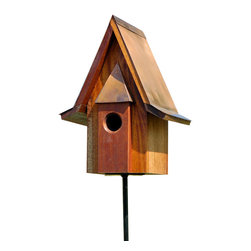 Heartwood - Mahogany Chateau Birdhouse opper Roof - This  beautifully  crafted  birdhouse  is  the  perfect  finishing  piece  for  any  yard.  The  mahogany  built  house  features  apparent  european  lines  and  a  solid  copper  roof.  It  also  is  equipped  with  a  convenient  clean-out  door  to  help  eliminate  stress  and  hassle.  It  is  sure  to  bring  the  attnetion  to  any  home,  garden,  yard  or  business.          Product  Details:                  7x11x14              1-1/2  hole              Handcrafted  in  USA  from  renewable,  FSC  certified  wood