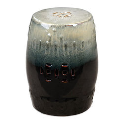 Uttermost - Uttermost 24600  Huang Ceramic Garden Stool - An ancient tradition that still makes a bold focal accent, this pierced ceramic garden stool is heavily glazed in toasted marshmallow tones over gloss black.