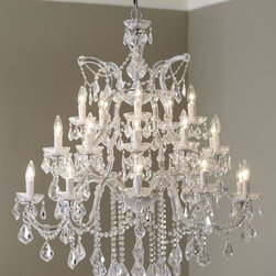 """Horchow - 26-Light Maria Theresa Chandelier - 26-Light Maria Theresa ChandelierDetailsChandelier made of crystal and chrome.Uses 26 25-watt bulbs.Mounting hardware and ceiling canopy included.Professional installation recommended.38""""Dia. x 44""""T with 72""""L chain. Imported.Boxed weight approximately 46.3 lbs. Please note that this item may require additional delivery and processing charges."""