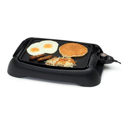 Elite Cuisine - Elite Cuisine 13'' Countertop Griddle - The nonstick cooking plate heats quickly and evenly and the removable, adjustable thermostat allows you to select the perfect temperature for cooking a variety of low-fat healthy meals.   13'' W x 9.5'' H Plastic / aluminum Hand wash Imported