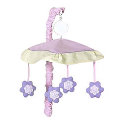 Sweet Jojo Designs - Pretty Pony Crib Mobile - The Pretty Pony Crib Mobile will have you putting your baby to sleep in style. When wound up this crib mobile spins and plays Brahms' lullaby. This musical crib mobile has been manufactured to fit standard sized cribs. The mobile set includes a musical mobile frame, canopy with hanging toys, and matching arm sleeve cover.
