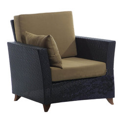 All Things Cedar - All Things Cedar PR30 Rattan Deep Seating Arm Chair, Khaki - Comes with lined and zippered Deep Seat Cushion - available in 6 colors. Cushions made of weather resistant polyester fabric and 5.5 inches of high density foam. Heavy-gauge aluminum tube frame - no rust. Welded aluminum joints are ground and polished. UV inhibitors repel the damaging effects of the sun & harsh weather - maintanence free. Wicker strapping is synthetic resin and hand wrapped for a natural, softer feel.     Color:  deep brown/black webbing w/ solid teak legs   Dimensions:   33 x 33 x 34 in. (w x d x h)