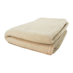 "Pur by Pur Cashmere - Signature Blend Throw Creme Fraiche 50""x70"" - Cashmere blend thermal knit throw. 50% cashmere. 50% wool blend Dry clean only. Inner mongolia."