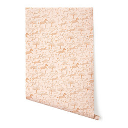 Safari Wallpaper, Blush - This wallpaper is whimsical chic. It comes in a bunch of different colors palettes too.