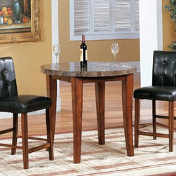 Yuan Tai Furniture - Crescent 3 Piece Pub Set - CR7880T-3SET - Set Includes Round Bar Table and 2 Counter Chairs
