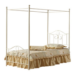 Hillsdale - Hillsdale Westfield Metal Canopy Bed in off White-Full - Hillsdale - Beds - 1354BFPR - The Westfield Canopy Bed is constructed of heavy gauge tubular steel in an off white finish. Available in Twin and Full sizes, this metal canopy bed features charming arched designs and intricate scrollwork. The adorable Westfield Canopy Bed is perfect for your little girl�s room.