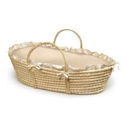Badger Basket Natural Moses Basket with Gingham Bedding - Dating back to the days of the ancient Egyptians the Moses basket remains a popular place for newborns to sleep. You'll love the easy portability of this charming Badger Basket Natural Moses Basket With Gingham Bedding and your baby will love the snug cocoon-like feeling it creates. This basket provides a comfy space for Baby anywhere in the house and it's a safe place for your baby to sleep at home or when visiting friends. It's woven from natural fibers with sturdy handles woven right into and under the basket.Your baby will snuggle up to the luxurious bedding set made of gingham fabric in your choice of pink beige or blue. The bedding set includes a soft bumper liner trimmed with a white ruffle and filled with soft polyester fill. Also included are a sheet and foam mattress pad. The gingham material and the sheet are made of 80 percent polyester and 20 percent cotton for your baby's comfort. And the bedding is machine washable and dryable adding ease to a busy mom's life.This Moses basket is designed for babies up to 15 lbs. or until Baby can push up or roll over unassisted. Wash bedding in cold water and tumble dry on low. Basket should always be placed on a firm flat surface. Never place it near a fireplace or open flames. Although this basket includes handles we do not recommend carrying the basket with your baby in it for safety reasons. No assembly required. Dimensions: 30.5L x 17W x 9H inches. Basket depth: 6 inches.Badger Basket CompanyFor more than 65 years Badger Basket Company has been a premier manufacturer of baskets bassinets bassinet bedding changing tables doll furniture hampers toy boxes and more for infants babies and children. Badger Basket Company creates beautiful and comfortable products that are continually updated and refreshed bringing you exciting new styles and fashions that complement the nostalgic and traditional products in the Badger Basket line.