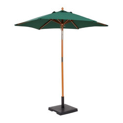 PRE Sales - 6 Foot Market Umbrella in Green - Woven fabric Green top. Tops treated with water repellant fabric protector solution. Pole unscrews in the middle. Compact transport and storage. Pulley and rope lift and lower system. Cleat on pole for handy rope tie-off. Top attached to 8 rib matching wood frame. Base not included (Base weight is 39 lbs.). 47 in. L x 6 in. W x 6 in. H (14 lbs)Perfect for outdoor events, patios, decks, etc. These handsome, woven fabric umbrellas add color and a festive look to your fiesta. You can install them in the hole in the middle of the table tops, providing a nice, shaded area for your guests. Or, the umbrellas can stand-alone, in our weighted bases. (Use a weighted base in EVERY installation, for safety.)