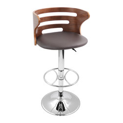 Lumisource - Brown Cosi Bar Stool - Elegance is the first thing that comes to mind with the Cosi Bar Stool. With a beautiful slotted bent wood back, a padded leatherette seat, polished chrome base and footrest, this stool is both contemporary and comfortable. Hydraulic lift lets you adjust the seat height for comfort and convenience. ** Note: Due to the natural variation in wood, color may vary slightly**