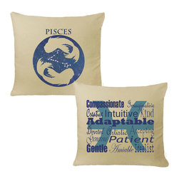 RoomCraft - Pisces Zodiac Throw Pillow Cover Set - 16x16 Natural - FEATURES: