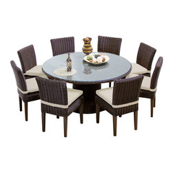 """TKC - Royal Rustico 60"""" Outdoor Patio Dining Table With 8 Chairs 2 for 1 Cover Set - Outdoor entertaining is stylish and easy with our Rustico Dining Pedestal Table. It's elegant round pedestal creates a dramatic focal point for summer gatherings. The table has a tempered-glass top that is easy to wipe clean."""