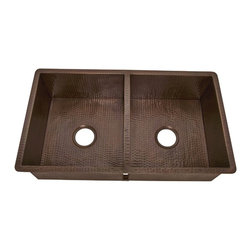 Belle Foret - Double Bowl 16 Gauge Copper Kitchen Sink In W - Manufacturer SKU: BFK2KITWC. Self rimming or undermount. Double Bowl. 16 Gauge copper. Hammered texture. Living finish. 32 in. x 20in. Bowl: 15 in. x 17 in. x 9 in.