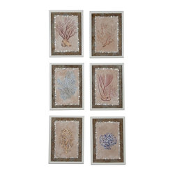"""Guildmaster - Coral Studies (Set of 6) by Guildmaster - Beautiful artwork can be a focal point in a room and often dictates its ambiance. This 6-piece collection will impact its space with an ocean life appreciation. Hand-painted coral art on tea stained fabric is mounted to reclaimed tin panels. Shell button embellishments frame the fabric, while the outer wood frame has a cappuccino foam finish. (GM) 16"""" wide x 22"""" high x 1"""" deep"""