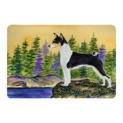 Caroline's Treasures - Basenji Kitchen or Bath Mat 20 x 30 - Kitchen or Bath Comfort Floor Mat This mat is 20 inch by 30 inch. Comfort Mat / Carpet / Rug that is Made and Printed in the USA. A foam cushion is attached to the bottom of the mat for comfort when standing. The mat has been permanently dyed for moderate traffic. Durable and fade resistant. The back of the mat is rubber backed to keep the mat from slipping on a smooth floor. Use pressure and water from garden hose or power washer to clean the mat. Vacuuming only with the hard wood floor setting, as to not pull up the knap of the felt. Avoid soap or cleaner that produces suds when cleaning. It will be difficult to get the suds out of the mat.