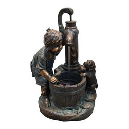 Alpine - Boy and Water Pump Fountain with LED Light - Add water to an environment and experience a sense of peace with any of these bronze finish fountains. A classic addition to any indoor/ outdoor retreat of your choice.Features: