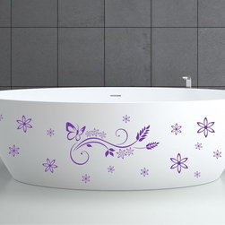 StickONmania - Bathtub Design Decal #3 - These decals come with two of each element mirrored, you choose how to place them.A vinyl decal sticker that lets you choose how to decorate. Decorate your home with original vinyl decals made to order in our shop located in the USA. We only use the best equipment and materials to guarantee the everlasting quality of each vinyl sticker. Our original wall art design stickers are easy to apply on most flat surfaces, including slightly textured walls, windows, mirrors, or any smooth surface. Some wall decals may come in multiple pieces due to the size of the design, different sizes of most of our vinyl stickers are available, please message us for a quote. Interior wall decor stickers come with a MATTE finish that is easier to remove from painted surfaces but Exterior stickers for cars,  bathrooms and refrigerators come with a stickier GLOSSY finish that can also be used for exterior purposes. We DO NOT recommend using glossy finish stickers on walls. All of our Vinyl wall decals are removable but not re-positionable, simply peel and stick, no glue or chemicals needed. Our decals always come with instructions and if you order from Houzz we will always add a small thank you gift.