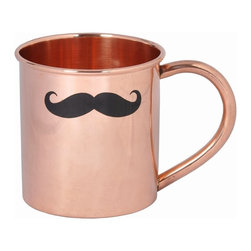 Custom Copper Mugs, LLC - Mustache Mule Mug - Our Mustache Moscow Mule Mug is perfect for Movember! It is constructed of 100% pure copper. We apply a food-safe lacquer that resists tarnishing for lasting beauty and luster. The mug of choice when serving the infamous Moscow Mule--a cocktail made from a blend of vodka, ginger beer, and lime juice. The copper mug enhances the flavor and keeps the drink colder, longer.