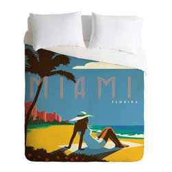 DENY Designs - Anderson Design Group Miami Duvet Cover - Turn your basic, boring down comforter into the super stylish focal point of your bedroom. Our Luxe Duvet is made from a heavy-weight luxurious woven polyester with a 50% cotton/50% polyester cream bottom. It also includes a hidden zipper with interior corner ties to secure your comforter. it's comfy, fade-resistant, and custom printed for each and every customer.