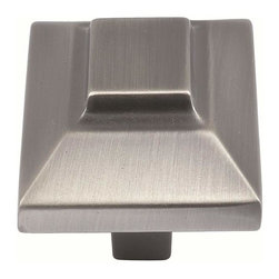 Atlas Homewares - Atlas 4002-P Trocadero 1 1/2-Inch Large Square Door Knob Pewter - Atlas 4002-P Trocadero 1 1/2-Inch Large Square Door Knob Pewter